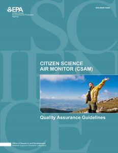 A front cover picture of the EPA Citizen Science Air Monitor (CSAM)'s Quality Assurance Guidelines