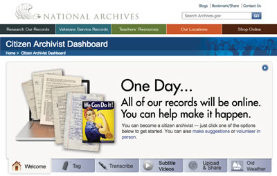 Screenshot of the Citizen Archivist Dashboard website from the National Archives