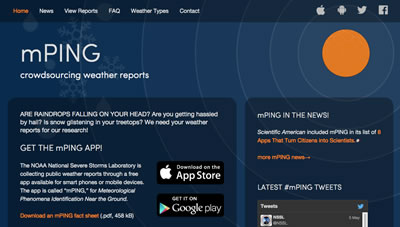 Screen capture of the mPING webpage.