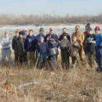 A group of Boy Scouts at a work day on a refuge.